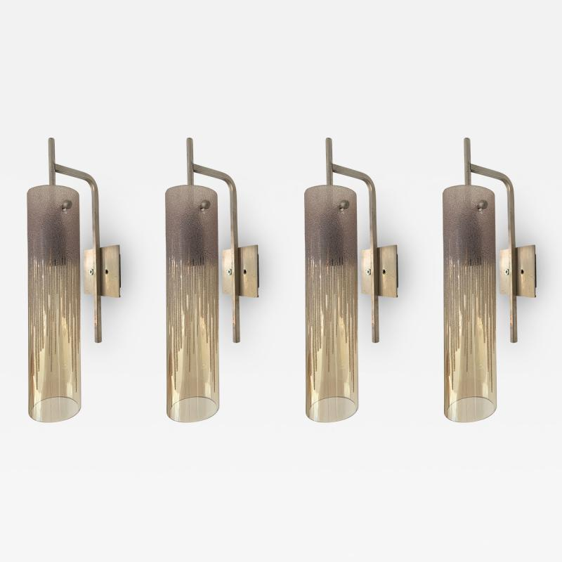 Poliarte 2 Pair of Sconces Acid Decor Glass and Silver Brass by Poliarte Italy 1970s