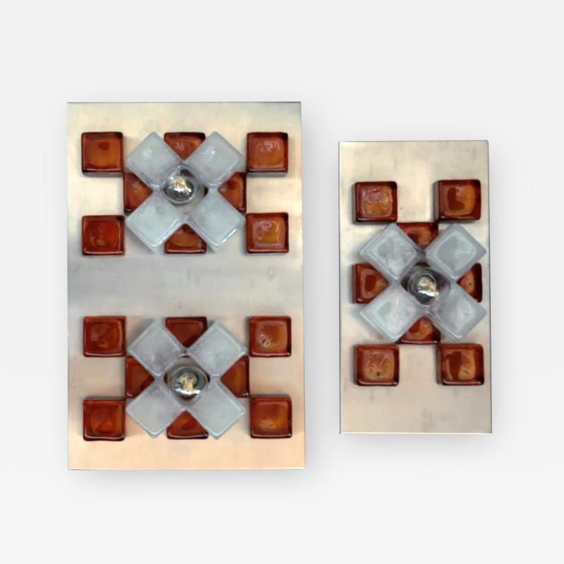 Poliarte A Companion Pr Italian Modern Brushed Chrome and Glass Wall Lights Poliarte