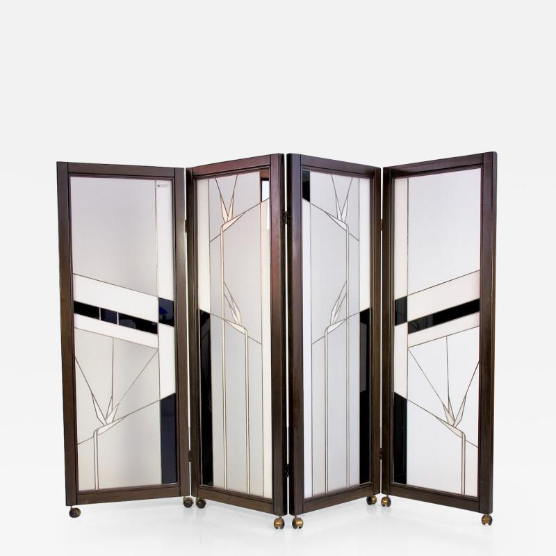Poliarte Art Deco Style Wood and Leaded Glass Screen by Poliarte