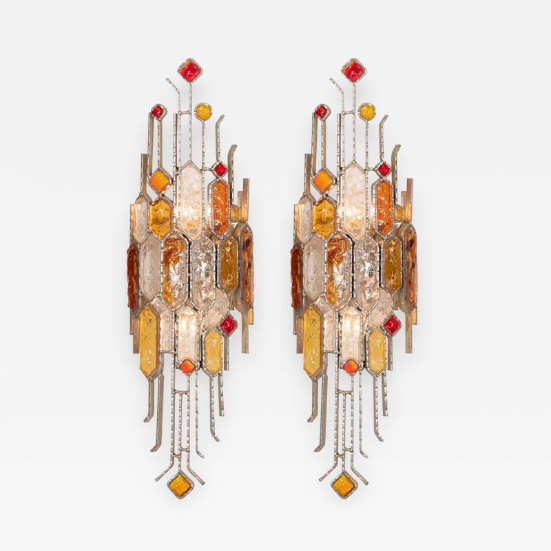 Poliarte PAIR OF SCULPTURAL METAL AND CARVED GLASS SCONCES