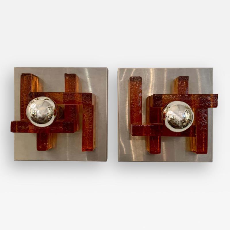 Poliarte Pair of Poliarte Italian Murano Glass 1960s Wall Lights
