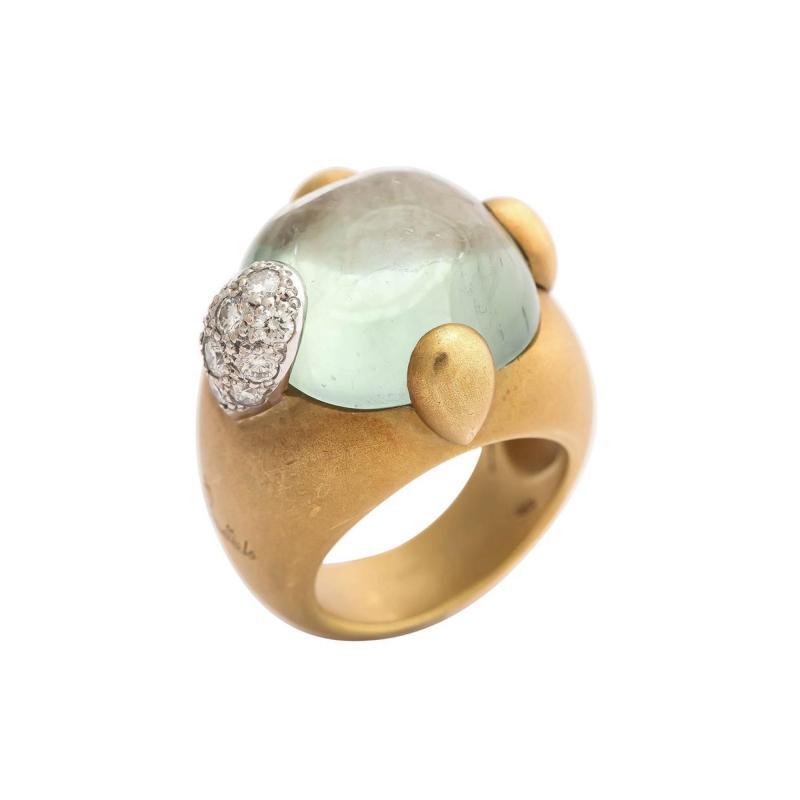 Pomellato Vintage Pomellato Gold Aquamarine and Diamond Ring
