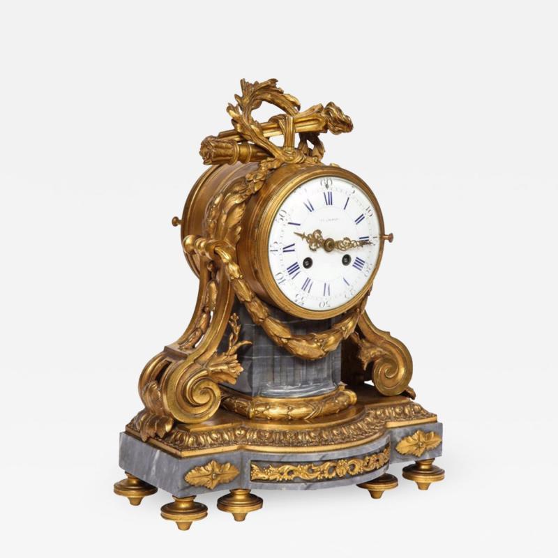 Popon A Paris A French Ormolu Mounted Bleu Turquin Marble Clock Japy Freres circa 1880
