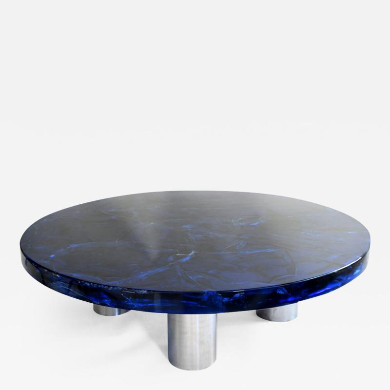 Portuondo Editions Blue fractal resin table