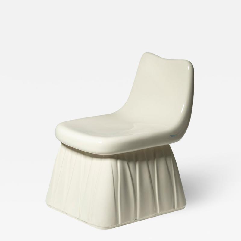 Pozzi Ginori Vitreous China Chair by Giovanni Gariboldi for San Cristoforo Ginori