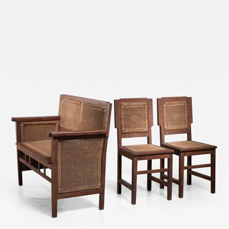 Prag Rudniker Prag Rudniker Secession Jugendstil set of bench and side chairs