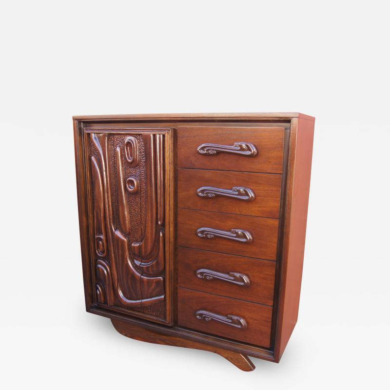 Pulaski Furniture Corporation Lacquered Walnut Oceanic Series Tall Dresser by Pulaski Furniture