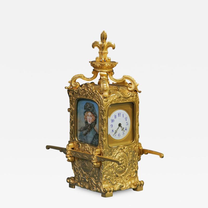 R Co Paris c 1895 French Sedan Carriage Clock with Miniature Portraits