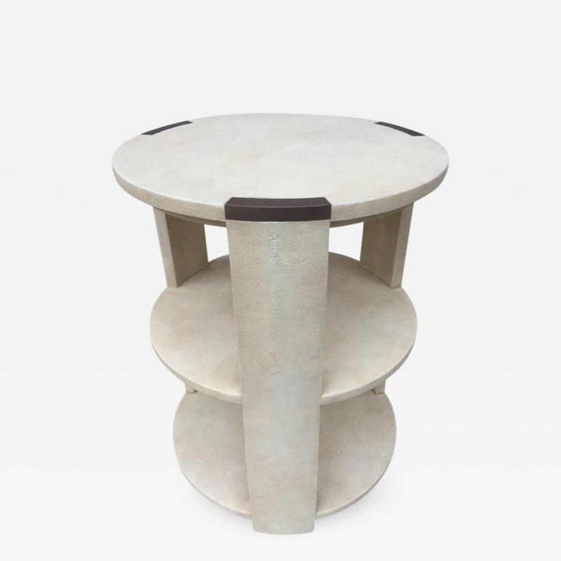 R Y Augousti R Y Augousti Shagreen Bronze Mount Three Tier Table