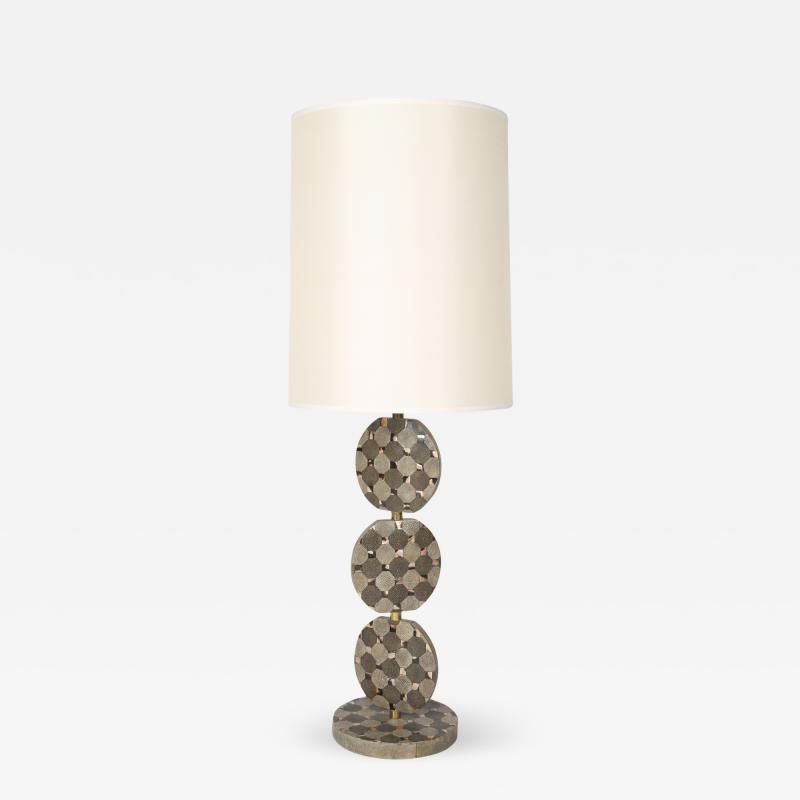 R Y Augousti Sculptural French Table Lamp in Shagreen and Horn by R Y Augousti c 1980s