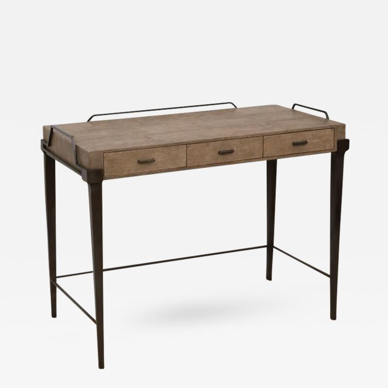 R Y Augousti Shagreen Desk with Patinated Bronze Base