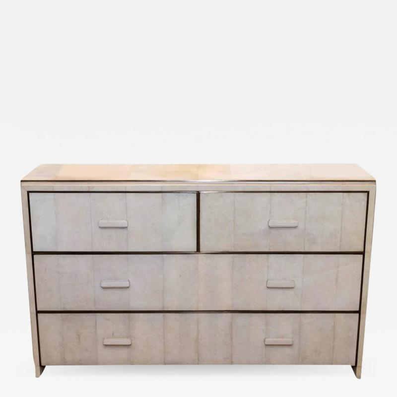 R Y Augousti WHITE SHAGREEN FOUR DRAWER COMMODE WITH BRONZE TRIM