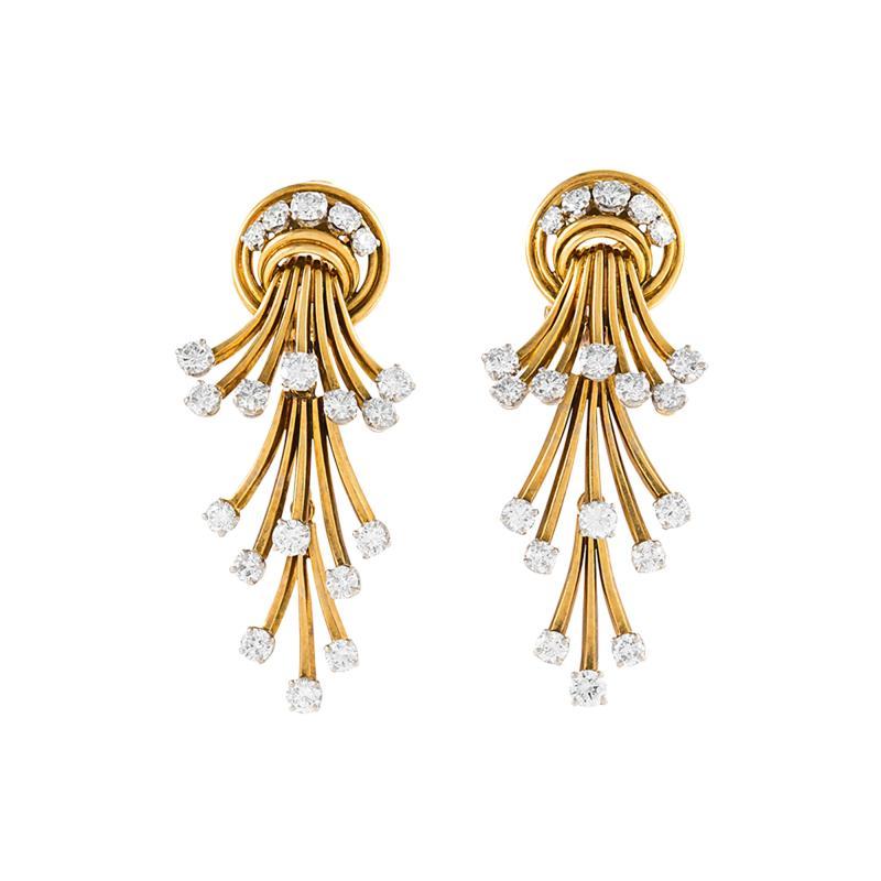 R gner Paris R gner Paris Mid 20th Century Diamond and Gold Pendant Earrings
