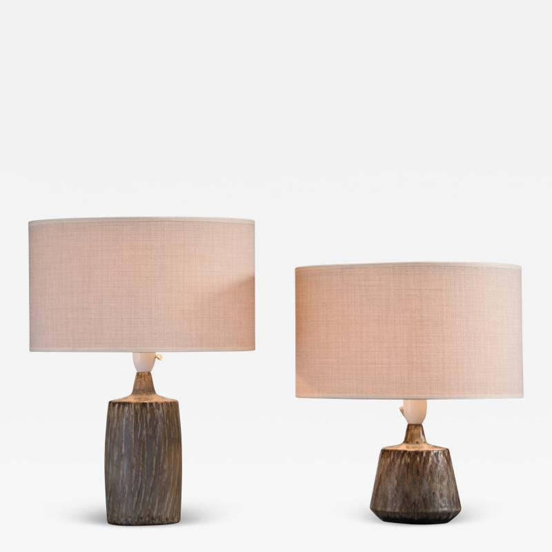R rstrand Studio Gunnar Nylund a synchronic pair of ceramic table lamps Sweden
