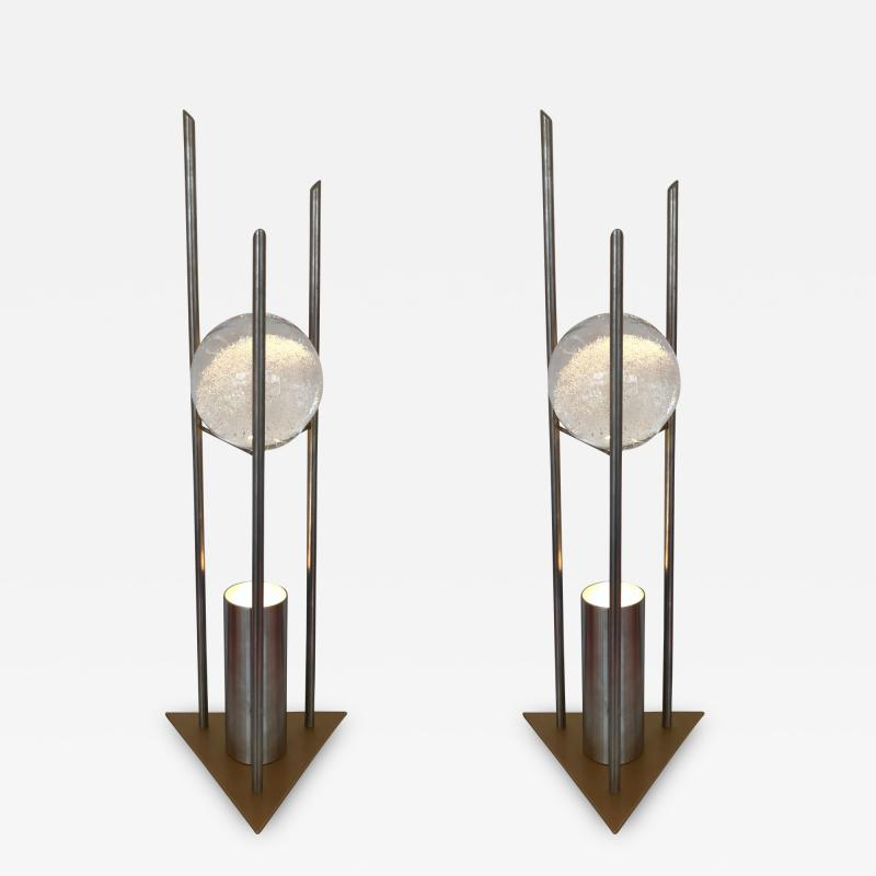 RW Manufaktur Pair of Lamps Glass Ball Sculpture by RW Manufaktur Germany 1980s
