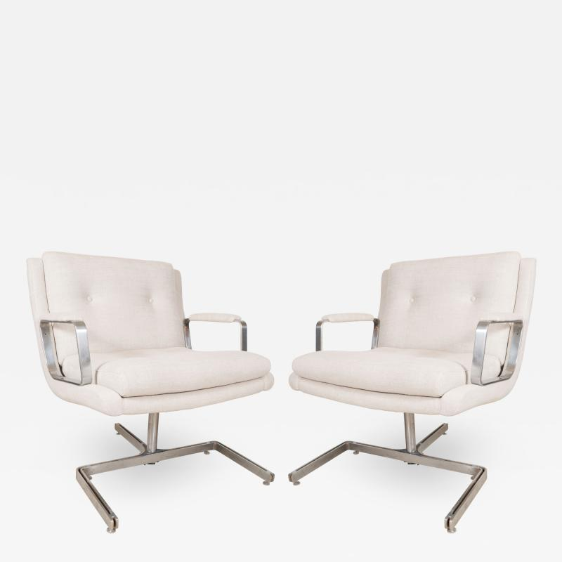 Raphael Furniture France Pair of Raphael chairs with metal base upholstered in Belgian linen