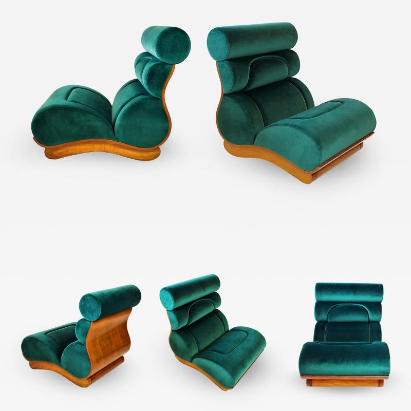 Raphael Furniture France Set of 5 French Modern Walnut Turquoise Velvet Upholstered Chairs