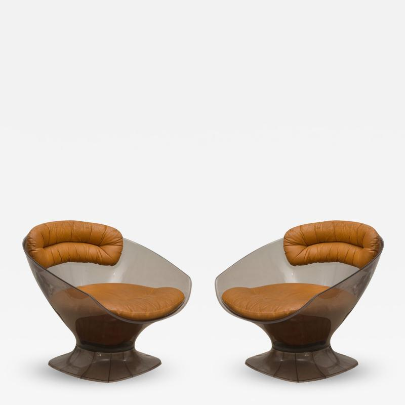 Raphael Furniture Pair of Lucite and Leather Lounge Chairs