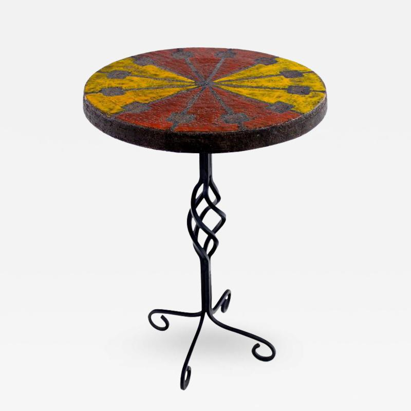 Raymor Italian Modern Wrought Iron and Ceramic Side Table by Raymor