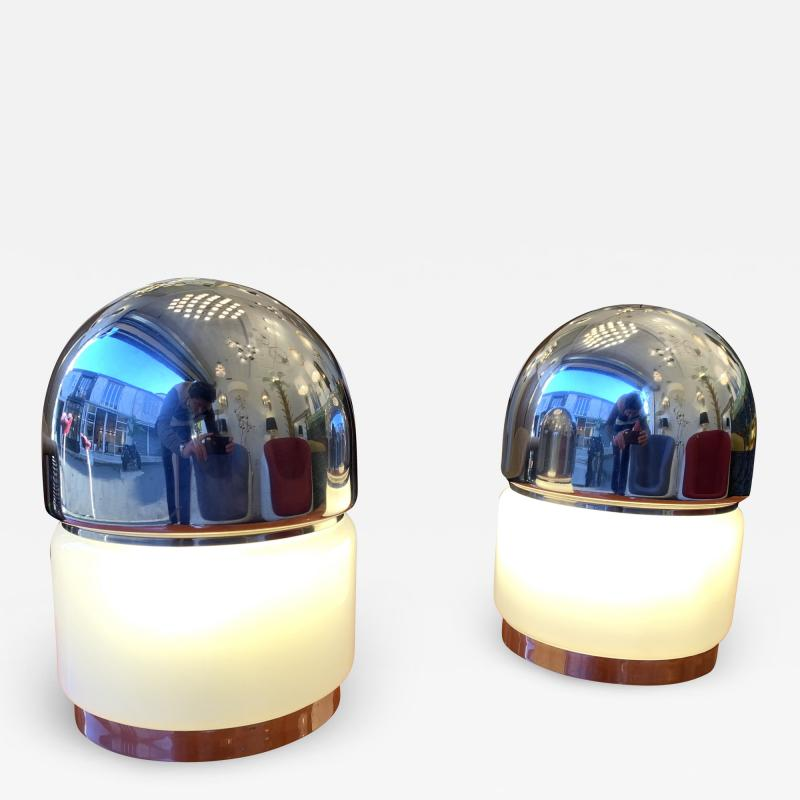 Reggiani Pair of Salt and Pepper Lamps Metal Opaline Glass by Reggiani Italy 1970
