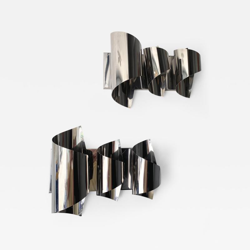 Reggiani Pair of Spiral Metal Chrome Sconces by Reggiani Italy 1970s
