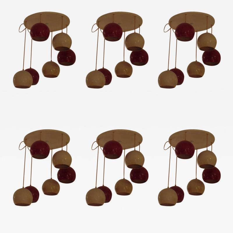 Reggiani Six Italian Mid Century Chandeliers by Reggiani
