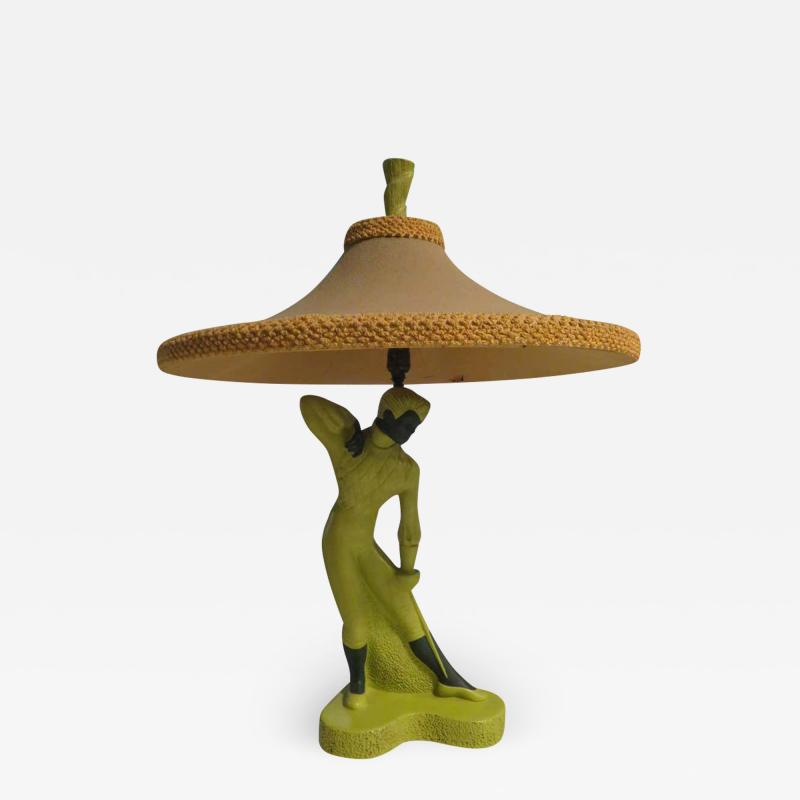 Reglor Fantastic Reglor of California Male Fencer Lamp with Original Shade circa 1951