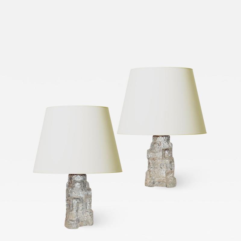 Reijmyre Glasbruk Pair of Petite Rustically Textured Glass Lamps by Reijmyre