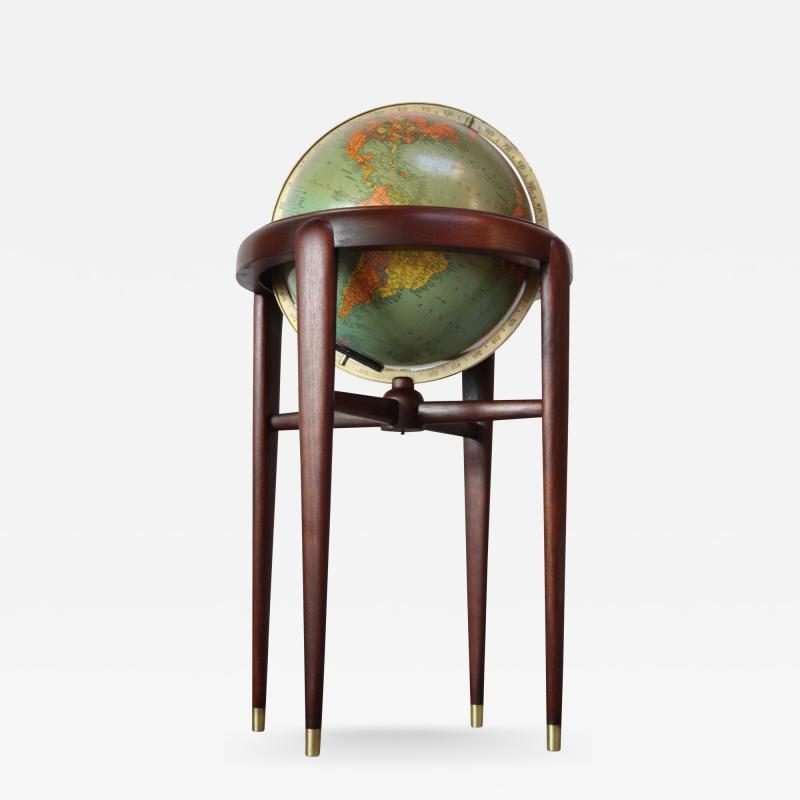 Replogle 1960s Replogle Illuminated Glass Globe on Mahogany Stand