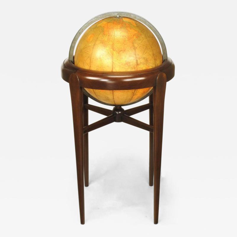 Replogle Replogle Illuminated Glass Globe on Mahogany Articulated Stand circa 1940s