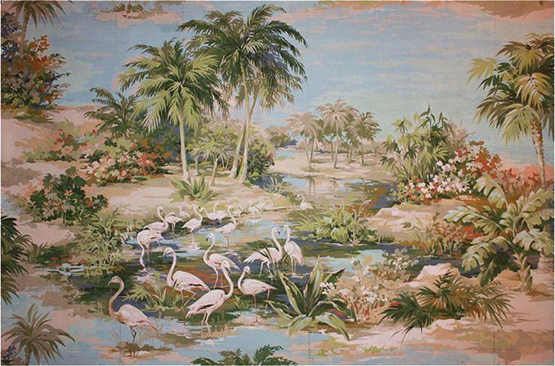 Richard Vigneux Richard Vigneux Large Oriental Painting Flamingos