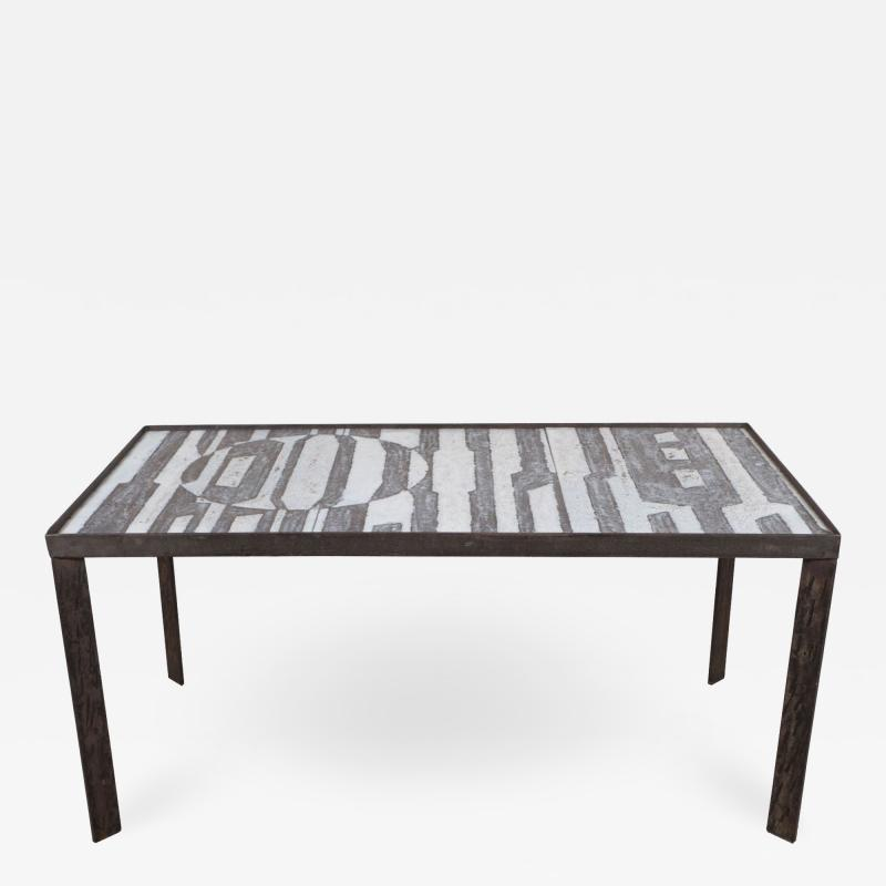 Robert Jean Cloutier Ceramic Black and White Design Low Table by Cloutier