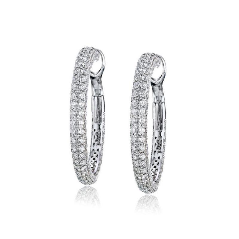 Roberto Coin ROBERTO COIN 18K WHITE GOLD 15 CARAT DIAMOND HOOP EARRINGS