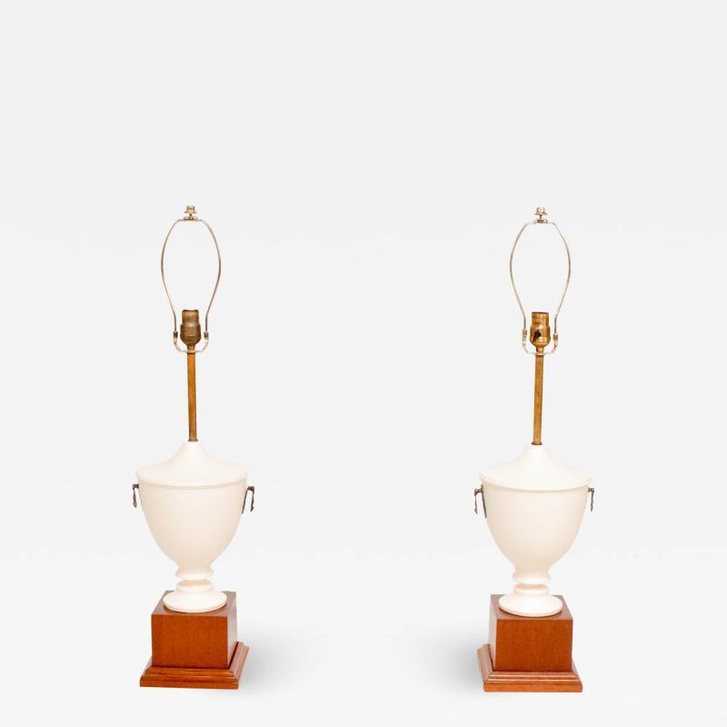 Roberto Mito Block Exceptional Neoclassical Urn Table Lamps White Mahogany Bronze Mexico 1940s