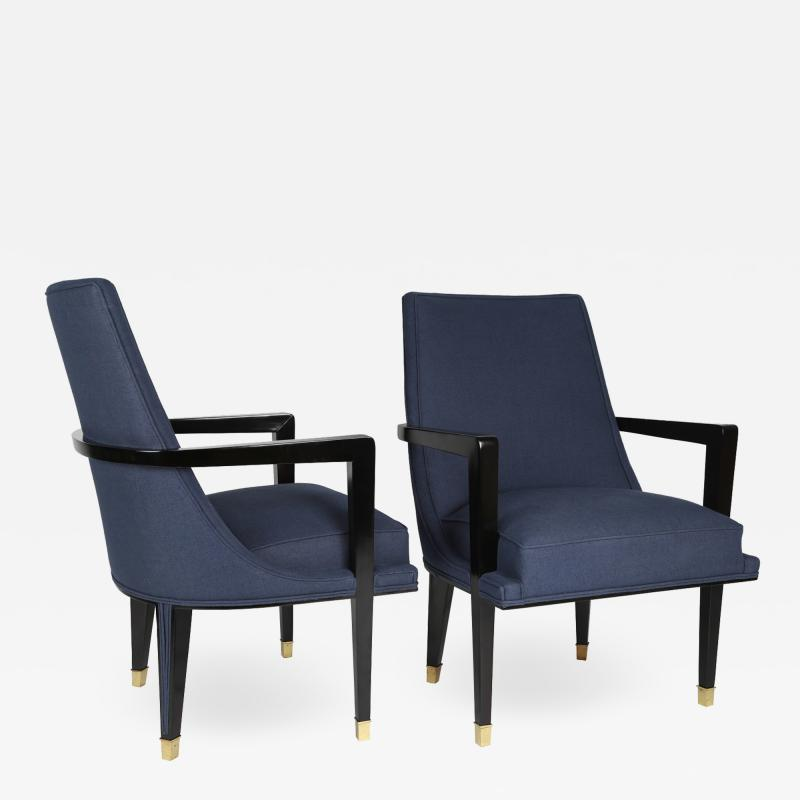 Roberto Mito Block Pair of Elegant Upholstered Lounge Chairs with Brass Sabots 1950s