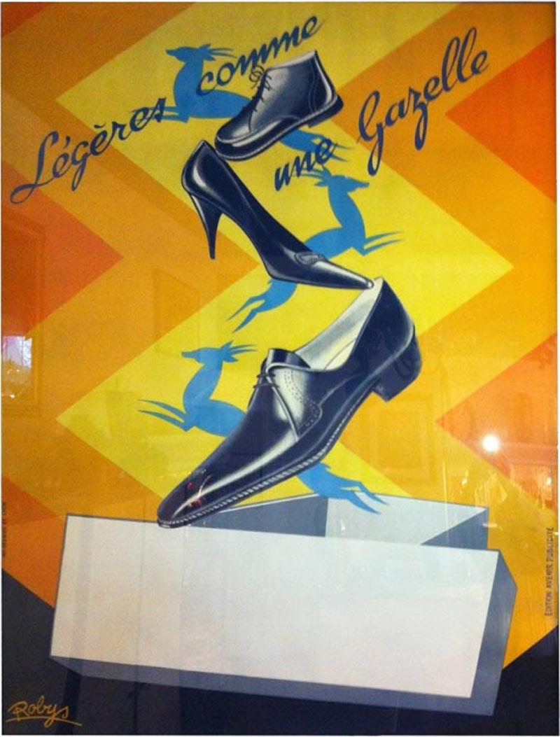 Robys Gazelle French Shoe Poster Signed Robys
