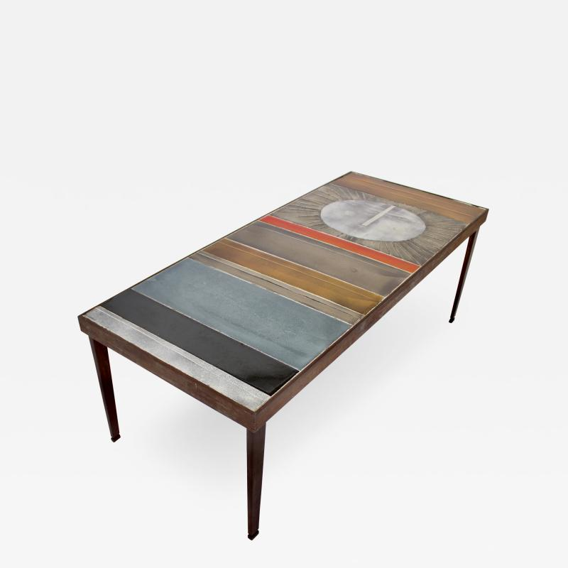 Roger Capron COFFEE TABLE BY ROGER CAPRON CERAMIC TABLE AU SOLEIL SUN MOTIF VALLAURIS C 1965