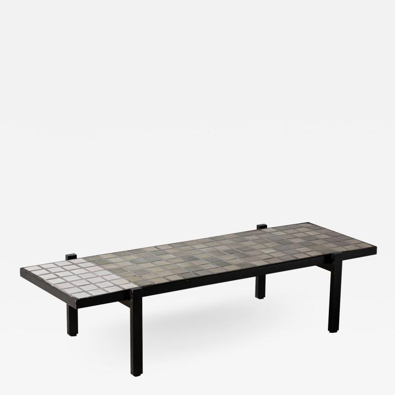 Roger Capron Coffee table in small ceramic tiles by Roger Capron Vallauris France circa 1950