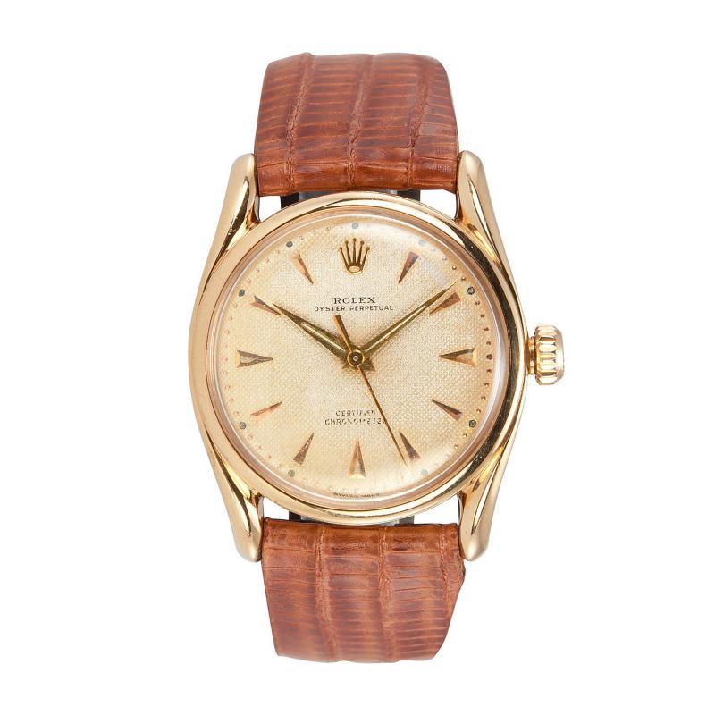 Rolex Bombay 18K Pink Gold Watch Ref 6090