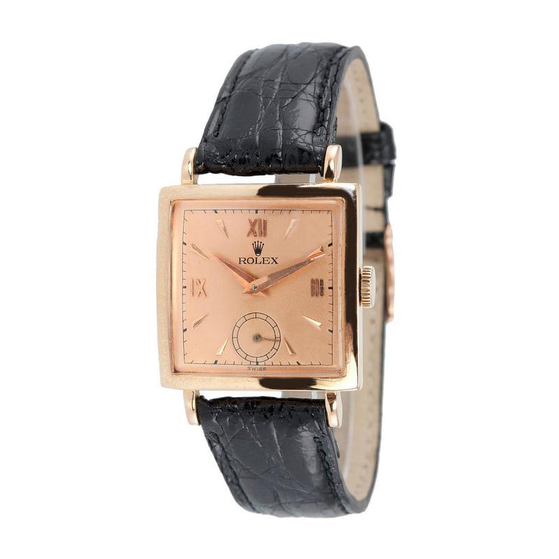Rolex Pink Gold Square Dress Watch Ref 4470