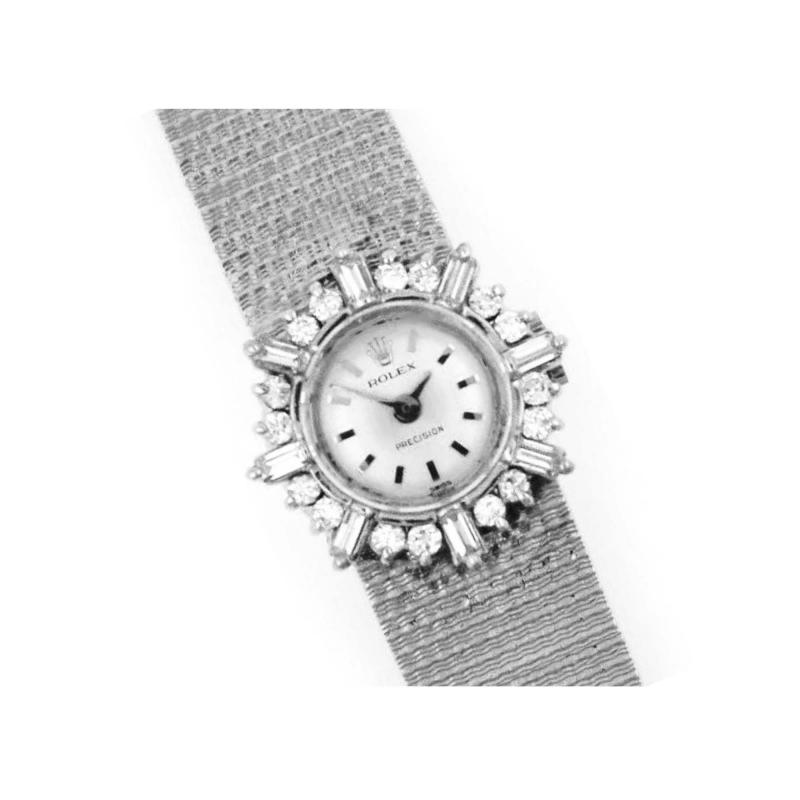 Rolex Rare 1960s 18kt White Gold Double Diamond Sun Spray Motif Mesh Bracelet Watch