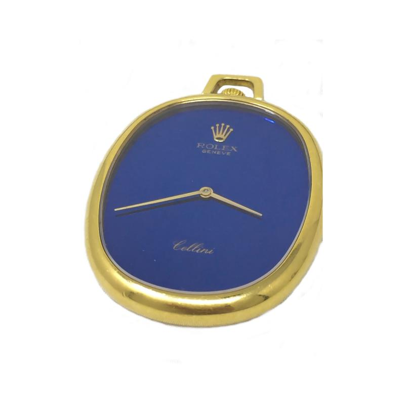 Rolex Rare 1970 80s 18Kt YG Rolex Cellini Pocket Watch w Satin Blue Pyramid Dial