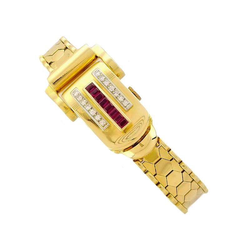 Rolex Rolex Rare Retro 1950s Vintage Ruby Diamond Bracelet Wristwatch
