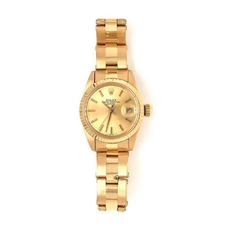 Rolex Watch Co ROLEX DATE OYSTER 18K YELLOW GOLD LADIES 26MM DIAL WATCH