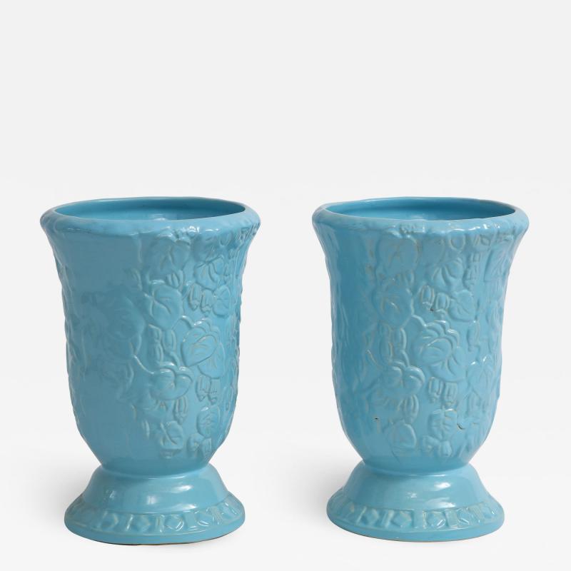 Roseville Pottery Large Scale Sky Blue Art Deco Planters Vases