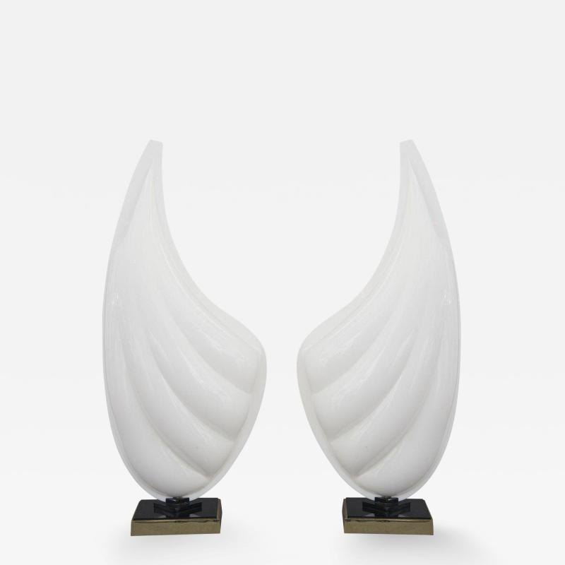 Rougier Pair of Mid Century Modern Resin Brass Shell Table Lamps