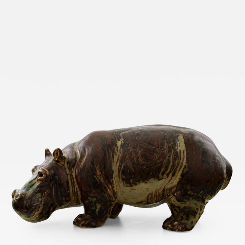 Royal Copenhagen Figure in stoneware in the form of a Hippo No 20182