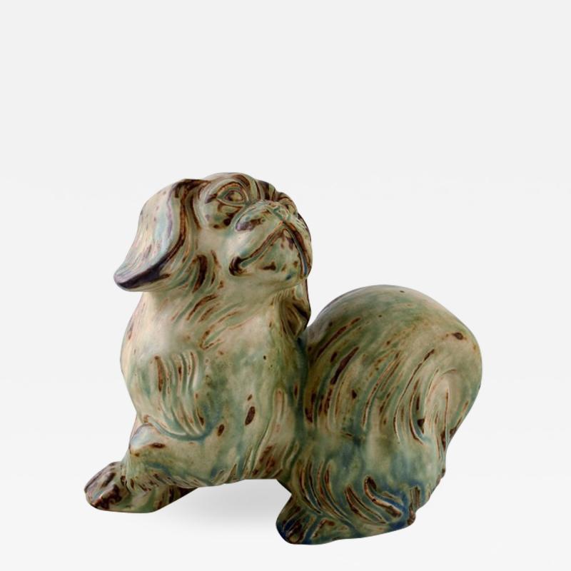 Royal Copenhagen Knud Kyhn for Royal Copenhagen stoneware figure pekingese Light sung glaze