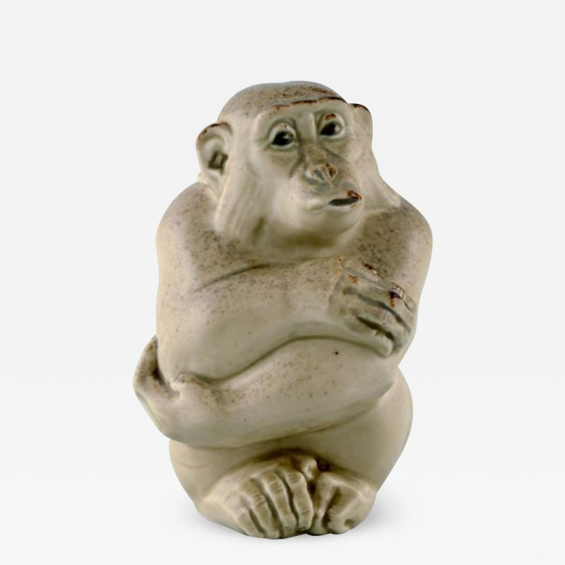 Royal Copenhagen Rare Knud Kyhn for Aluminia Royal Copenhagen Stoneware figure Monkey