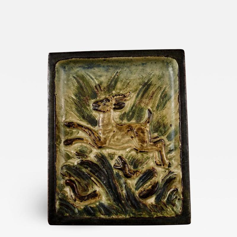 Royal Copenhagen Stoneware relief with leaping deer and aggressive snake